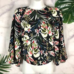 Tops - Tropical Floral Bell Sleeve Top | Size Small